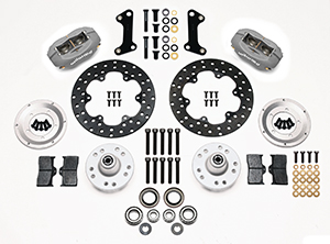Wilwood Forged Dynalite Front Drag Brake Kit Parts Laid Out - Black Anodize Caliper - Drilled Rotor