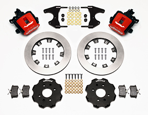 Wilwood Combination Parking Brake Caliper Rear Brake Kit Parts Laid Out - Red Powder Coat Caliper - Plain Face Rotor