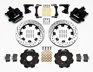 Wilwood Combination Parking Brake Caliper Rear Brake Kit Parts Laid Out - Black Powder Coat Caliper - SRP Drilled & Slotted Rotor