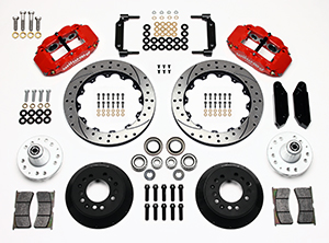 Wilwood Forged Narrow Superlite 6R Big Brake Front Brake Kit (Hub) Parts Laid Out - Red Powder Coat Caliper - SRP Drilled & Slotted Rotor