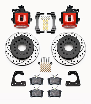 Wilwood Combination Parking Brake Caliper 1Pc Rotor Rear Brake Kit Parts Laid Out - Red Powder Coat Caliper - SRP Drilled & Slotted Rotor