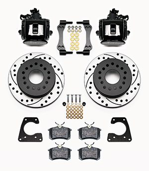 Wilwood Combination Parking Brake Caliper 1Pc Rotor Rear Brake Kit Parts Laid Out - Black Powder Coat Caliper - SRP Drilled & Slotted Rotor