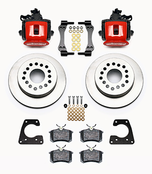Wilwood Combination Parking Brake Caliper 1Pc Rotor Rear Brake Kit Parts Laid Out - Red Powder Coat Caliper - Plain Face Rotor