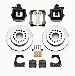 Wilwood Combination Parking Brake Caliper 1Pc Rotor Rear Brake Kit Parts Laid Out - Black Powder Coat Caliper - Plain Face Rotor