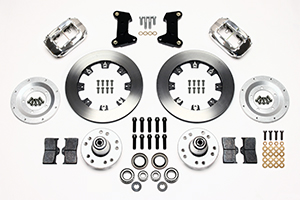Wilwood Forged Dynalite Big Brake Front Brake Kit (Hub) Parts Laid Out - Polish Caliper - Plain Face Rotor