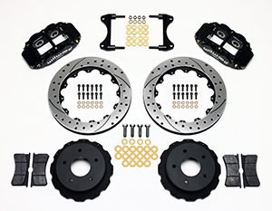 Wilwood Forged Narrow Superlite 4R Big Brake Rear Brake Kit For OE Parking Brake Parts Laid Out - Black Powder Coat Caliper - SRP Drilled & Slotted Rotor