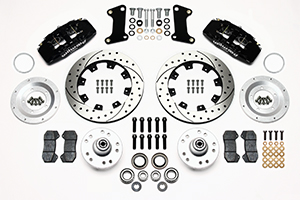 Wilwood Forged Dynapro 6 Big Brake Front Brake Kit (Hub) Parts Laid Out - Black Powder Coat Caliper - SRP Drilled & Slotted Rotor