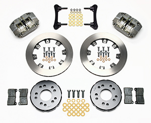 Wilwood Dynapro Radial Front Drag Brake Kit Parts Laid Out - Type III Ano Caliper - Plain Face Rotor