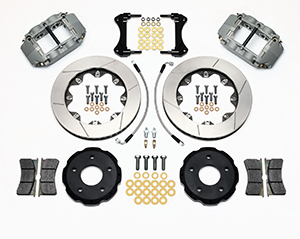 Wilwood Forged Superlite 4R Big Brake Front Brake Kit (Race) Parts Laid Out - Nickel Plate Caliper - GT Slotted Rotor