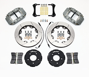 Wilwood Forged Superlite 4R Big Brake Front Brake Kit (Race) Parts Laid Out - Type III Ano Caliper - GT Slotted Rotor