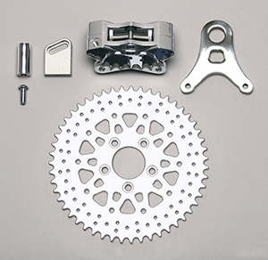 Wilwood GP310 Motorcycle Rear Sprocket Brake Kit Parts Laid Out - Chrome Caliper - Drilled Rotor