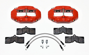 Wilwood D8-4 Front Replacement Caliper Kit Parts Laid Out - Red Powder Coat Caliper
