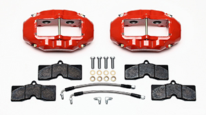Wilwood D8-4 Rear Replacement Caliper Kit Parts Laid Out - Red Powder Coat Caliper