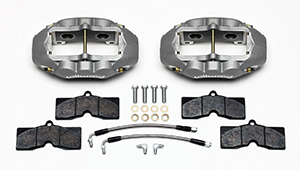 Wilwood D8-4 Rear Replacement Caliper Kit Parts Laid Out - Clear Anodize Caliper