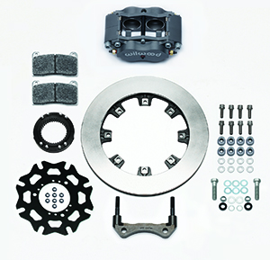 Wilwood Billet Narrow Dynalite Radial Mount Sprint Inboard Brake Kit Parts Laid Out - Type III Ano Caliper - Plain Face Rotor