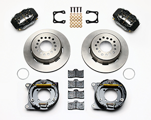 Wilwood Forged Dynalite Rear Parking Brake Kit Parts Laid Out - Black Powder Coat Caliper - Plain Face Rotor