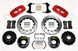Wilwood AERO4 Big Brake Rear Parking Brake Kit Parts Laid Out - Red Powder Coat Caliper - SRP Drilled & Slotted Rotor
