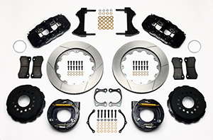 Wilwood AERO4 Big Brake Rear Parking Brake Kit Parts Laid Out - Black Powder Coat Caliper - GT Slotted Rotor