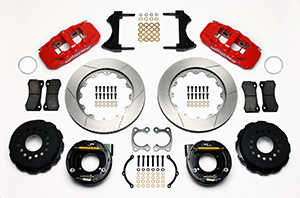 Wilwood AERO4 Big Brake Rear Parking Brake Kit Parts Laid Out - Red Powder Coat Caliper - GT Slotted Rotor