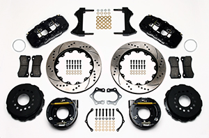 Wilwood AERO4 Big Brake Rear Parking Brake Kit Parts Laid Out - Black Powder Coat Caliper - SRP Drilled & Slotted Rotor