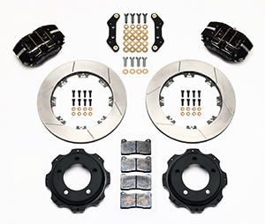 Wilwood Dynapro Rear Brake Kit For OE Parking Brake Parts Laid Out - Black Powder Coat Caliper - SRP Drilled & Slotted Rotor