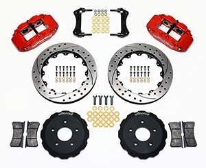 Wilwood Forged Narrow Superlite 6R Big Brake Front Brake Kit (Hat) Parts Laid Out - Red Powder Coat Caliper - SRP Drilled & Slotted Rotor