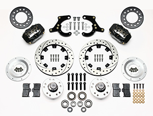 Wilwood Forged Dynalite Pro Series Front Brake Kit Parts Laid Out - Black Anodize Caliper - SRP Drilled & Slotted Rotor