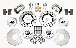 Wilwood Forged Dynalite Pro Series Front Brake Kit Parts Laid Out - Polish Caliper - SRP Drilled & Slotted Rotor