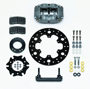 Wilwood Billet Narrow Dynalite Radial Mount Midget Inboard Brake Kit Parts Laid Out - Nickel Plate Caliper - Drilled Rotor