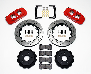 Wilwood AERO4 Big Brake Rear Brake Kit For OE Parking Brake Parts Laid Out - Red Powder Coat Caliper - SRP Drilled & Slotted Rotor