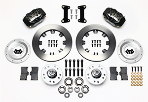 Wilwood Forged Dynalite Big Brake Front Brake Kit (Hub) Parts Laid Out - Black Powder Coat Caliper - Plain Face Rotor