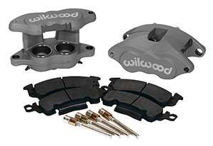 Wilwood D52 Front Caliper Kit Parts Laid Out - Black Anodize Caliper