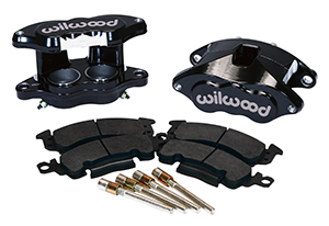 Wilwood D52 Front Caliper Kit Parts Laid Out - Black Powder Coat Caliper