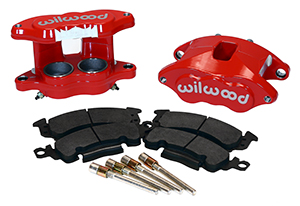 Wilwood D52 Front Caliper Kit Parts Laid Out - Red Powder Coat Caliper