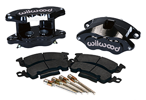 Wilwood D52 Rear Caliper Kit Parts Laid Out - Black Powder Coat Caliper