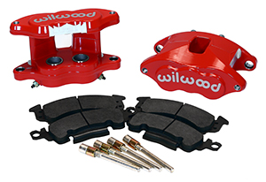 Wilwood D52 Rear Caliper Kit Parts Laid Out - Red Powder Coat Caliper