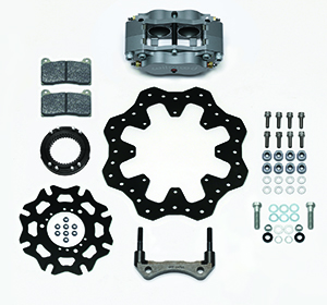 Wilwood Billet Narrow Dynalite Radial Mount Sprint Inboard Brake Kit Parts Laid Out - Nickel Plate Caliper - Drilled Rotor