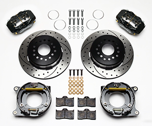 Wilwood Forged Dynalite Rear Parking Brake Kit Parts Laid Out - Black Anodize Caliper - SRP Drilled & Slotted Rotor