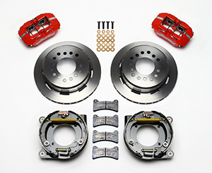 Wilwood Dynapro Low-Profile Rear Parking Brake Kit Parts Laid Out - Red Powder Coat Caliper - Plain Face Rotor