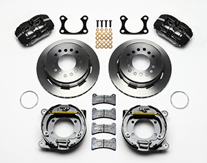 Wilwood Dynapro Low-Profile Rear Parking Brake Kit Parts Laid Out - Black Powder Coat Caliper - Plain Face Rotor