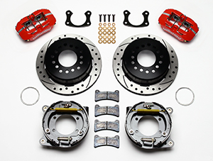 Wilwood Dynapro Low-Profile Rear Parking Brake Kit Parts Laid Out - Red Powder Coat Caliper - SRP Drilled & Slotted Rotor