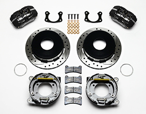 Wilwood Dynapro Low-Profile Rear Parking Brake Kit Parts Laid Out - Black Anodize Caliper - SRP Drilled & Slotted Rotor