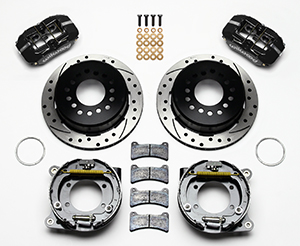 Wilwood Dynapro Low-Profile Rear Parking Brake Kit Parts Laid Out - Black Powder Coat Caliper - SRP Drilled & Slotted Rotor