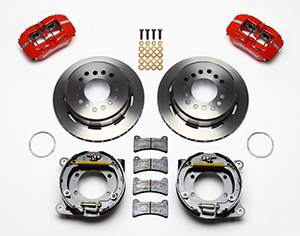 Wilwood Forged Dynapro Low-Profile Rear Parking Brake Kit Parts Laid Out - Red Powder Coat Caliper - Plain Face Rotor
