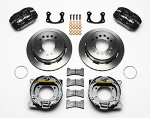 Wilwood Dynapro Low-Profile Rear Parking Brake Kit Parts Laid Out - Polish Caliper - Plain Face Rotor