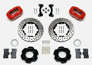 Wilwood Forged Dynalite Big Brake Front Brake Kit (Hat) Parts Laid Out - Red Powder Coat Caliper - SRP Drilled & Slotted Rotor