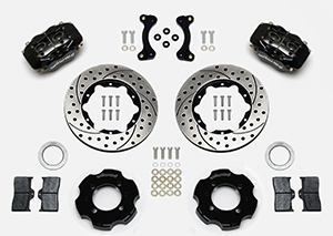 Wilwood Forged Dynalite Big Brake Front Brake Kit (Hat) Parts Laid Out - Black Anodize Caliper - SRP Drilled & Slotted Rotor