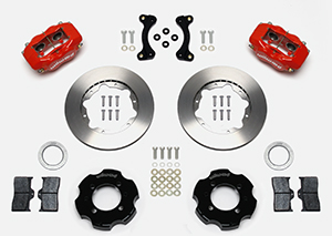 Wilwood Forged Dynalite Big Brake Front Brake Kit (Hat) Parts Laid Out - Red Powder Coat Caliper - Plain Face Rotor