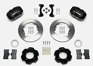 Wilwood Forged Dynalite Big Brake Front Brake Kit (Hat) Parts Laid Out - Black Anodize Caliper - Plain Face Rotor