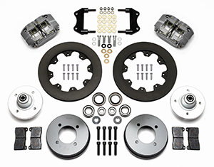 Wilwood Dynapro Radial Big Brake Front Brake Kit (Hub) Parts Laid Out - Type III Ano Caliper - Plain Face Rotor